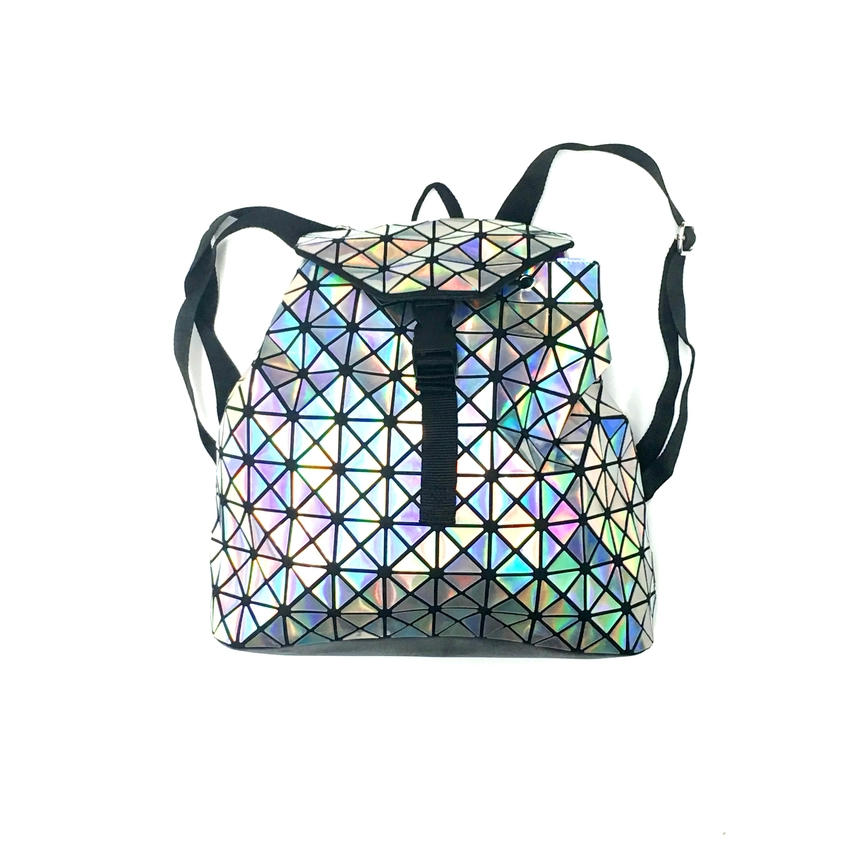Triangle Design Backpack with Cinch Closure in Silver