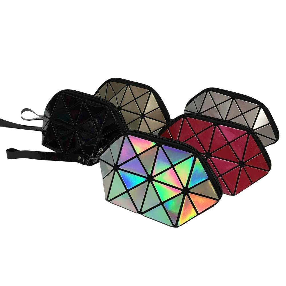 Triangle Design Cosmetic Bag with Zipper in 5 Colors