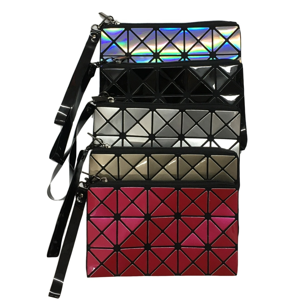 Triangle Design Wristlet with Zipper in 5 Colors