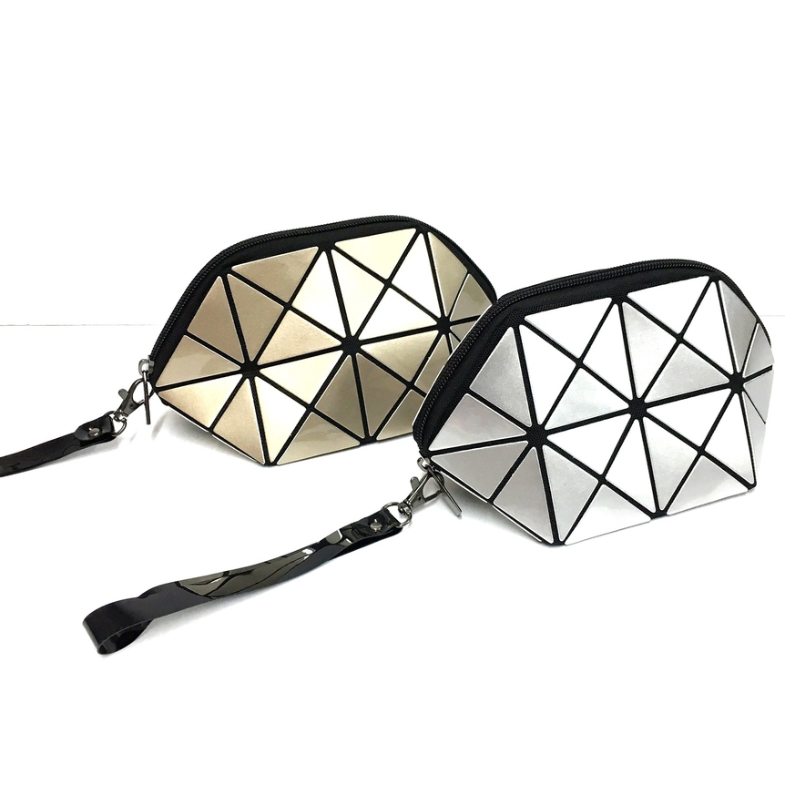 Triangle Design Cosmetic Bag in Gold and Silver