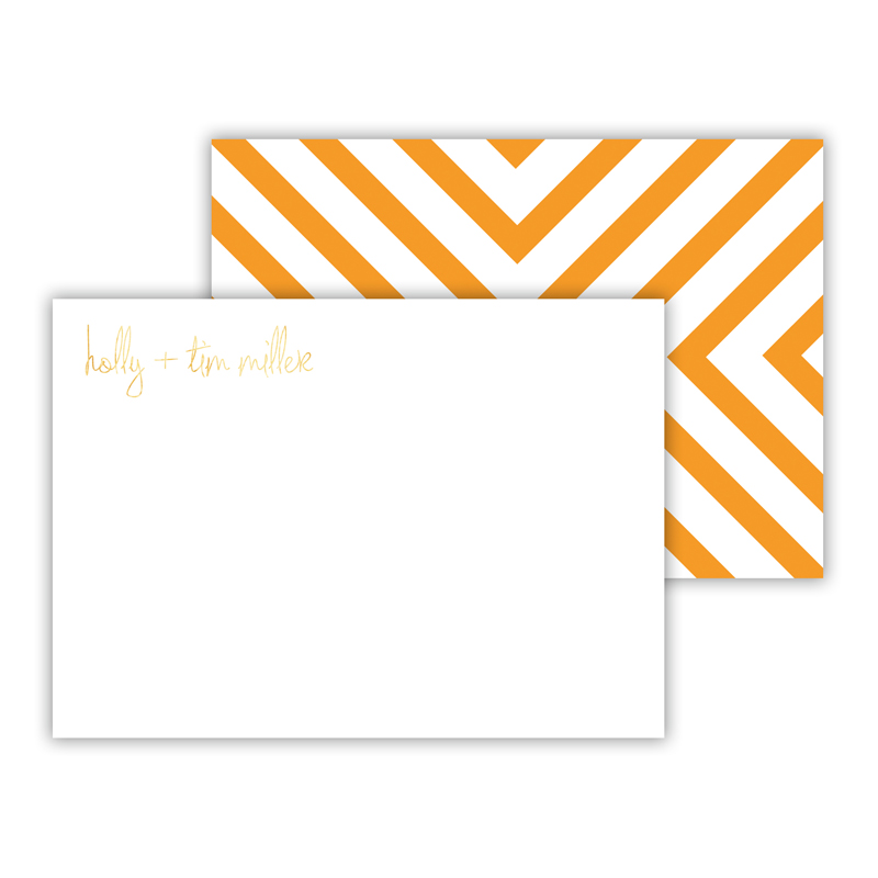 Chevron Foil Personalized Mini Flat Card with Foil Accents (25 cards)