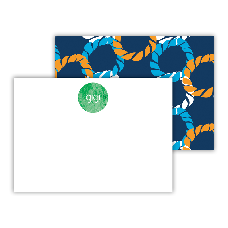 Nautical Knot Foil Personalized Mini Flat Card with Foil Accents (25 cards)