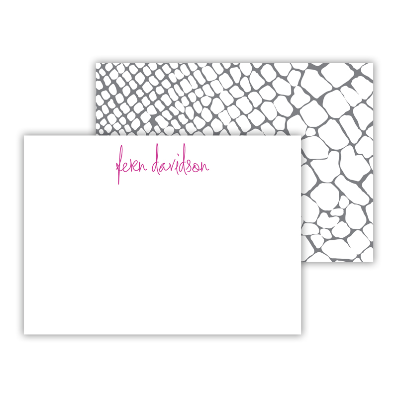 Snakeskin Personalized Mini Flat Note Card (25 cards)