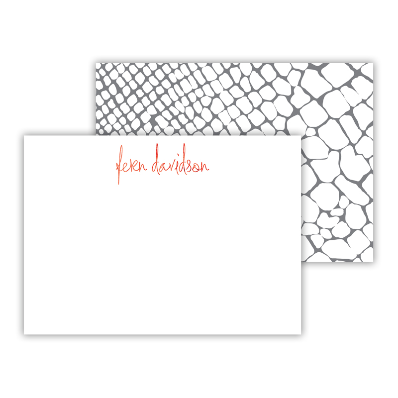Snakeskin Foil Personalized Mini Flat Card with Foil Accents (25 cards)
