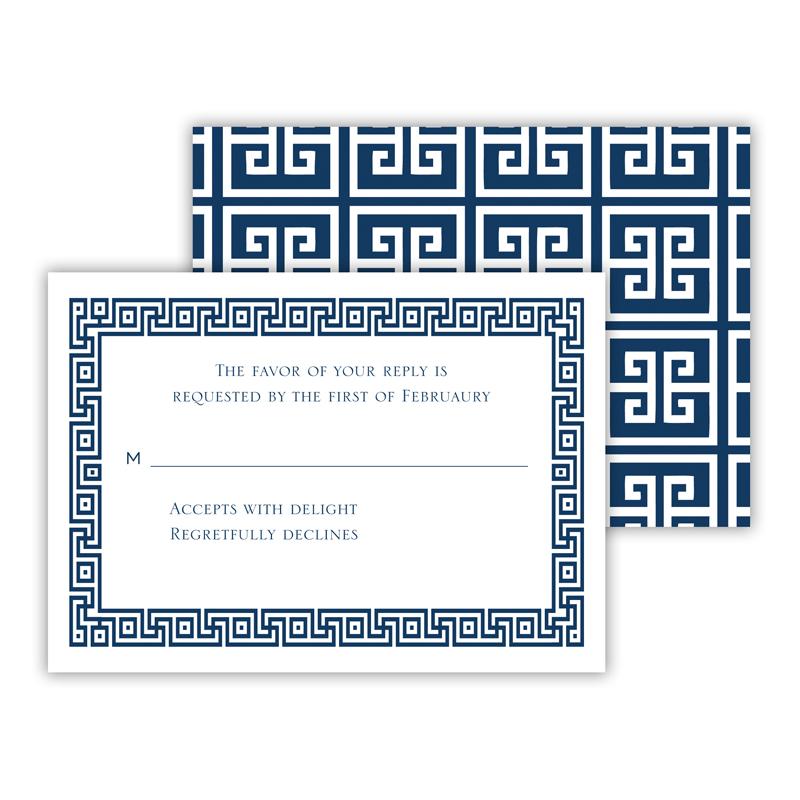 Greek Key 2 25 Personalized Response Cards