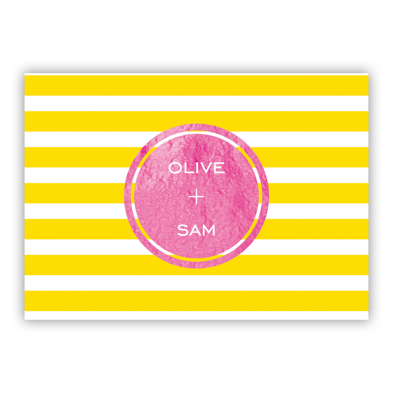 Cabana Foil Personalized Mini Folded Note with Foil Accent (25 cards)