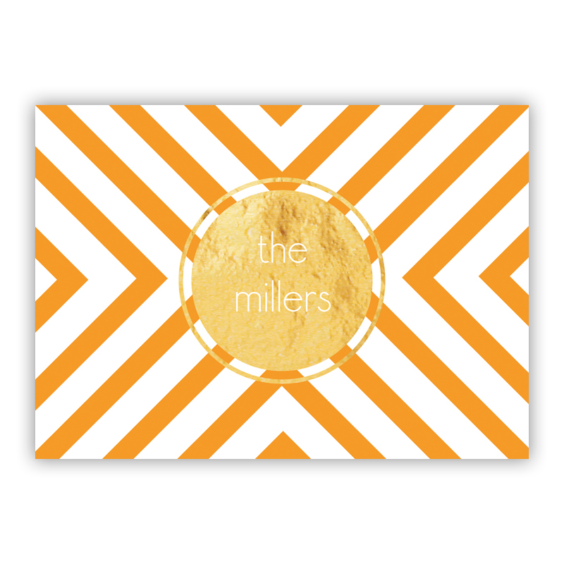 Chevron Foil Personalized Mini Folded Note with Foil Accent (25 cards)