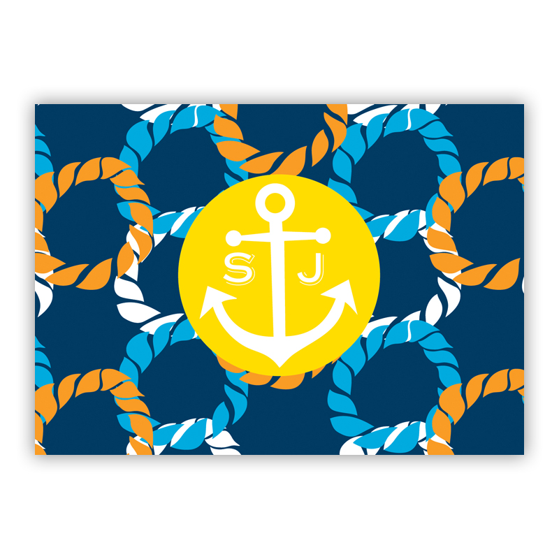 Nautical Knot Personalized Mini Folded Note Cards (25 cards)