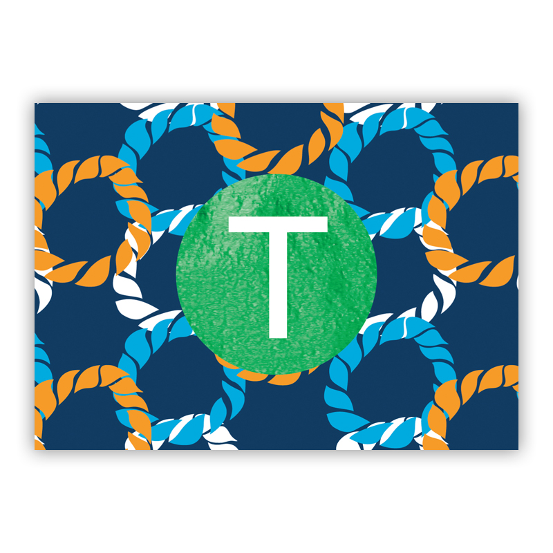 Nautical Knot Foil Personalized Mini Folded Note with Foil Accent (25 cards)