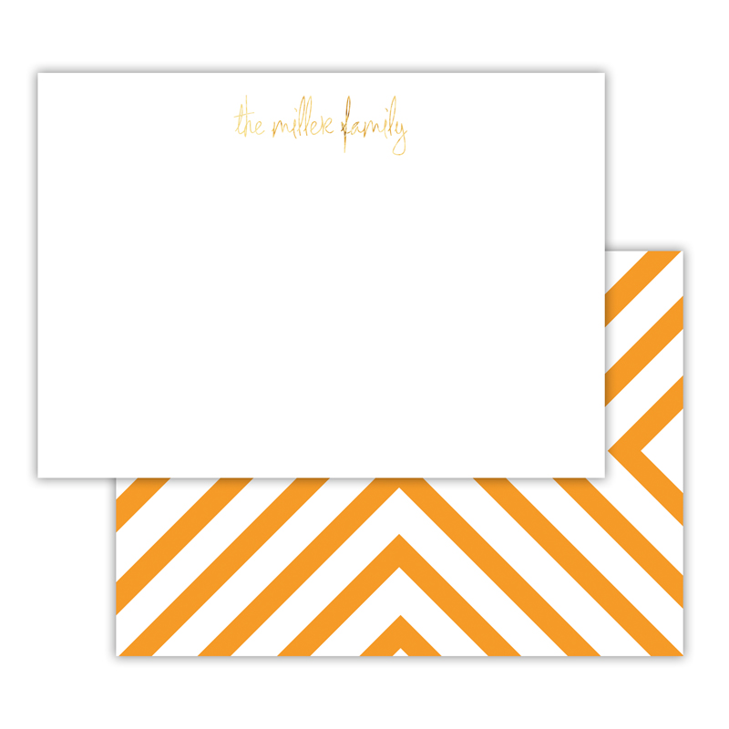 Chevron Foil Personalized Deluxe Flat Card with Foil Accents (25 cards)