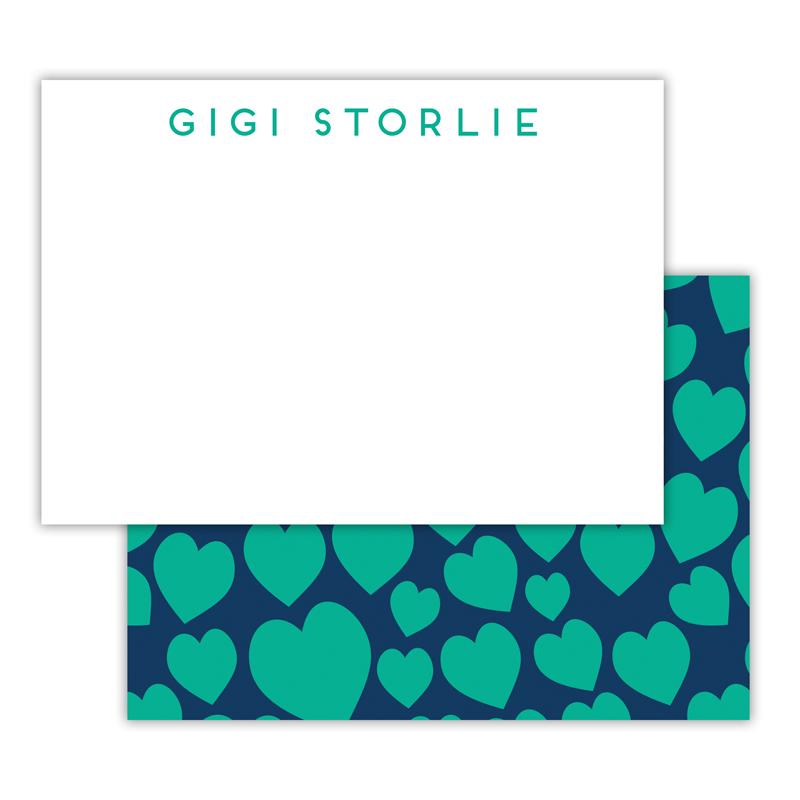 Lovestruck Personalized Deluxe Flat Note Card (25 cards)