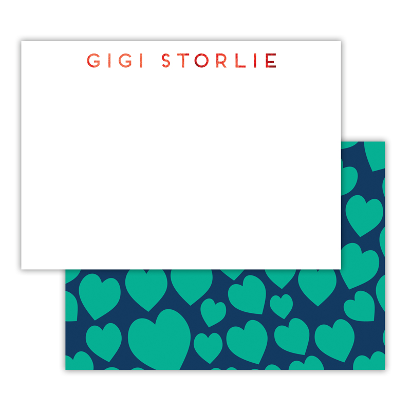 Lovestruck Foil Personalized Deluxe Flat Card with Foil Accents (25 cards)