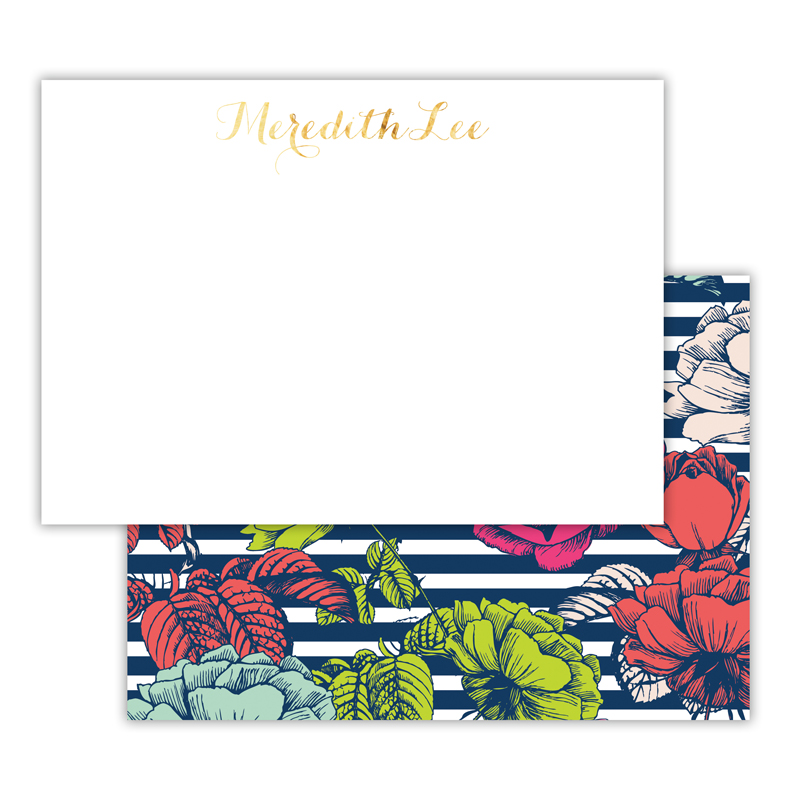 Millie Foil Personalized Deluxe Flat Card with Foil Accents (25 cards)