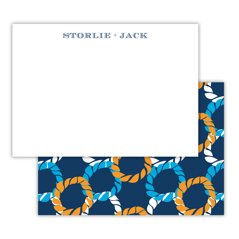 Nautical Knot Personalized Deluxe Flat Note Card (25 cards)