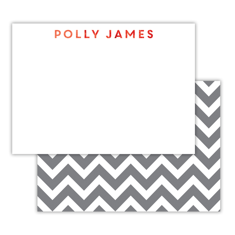 Ollie Foil Personalized Deluxe Flat Card with Foil Accents (25 cards)