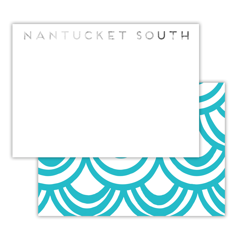 Seashells Foil Personalized Deluxe Flat Card with Foil Accents (25 cards)