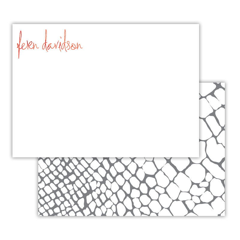 Snakeskin Foil Personalized Deluxe Flat Card with Foil Accents (25 cards)
