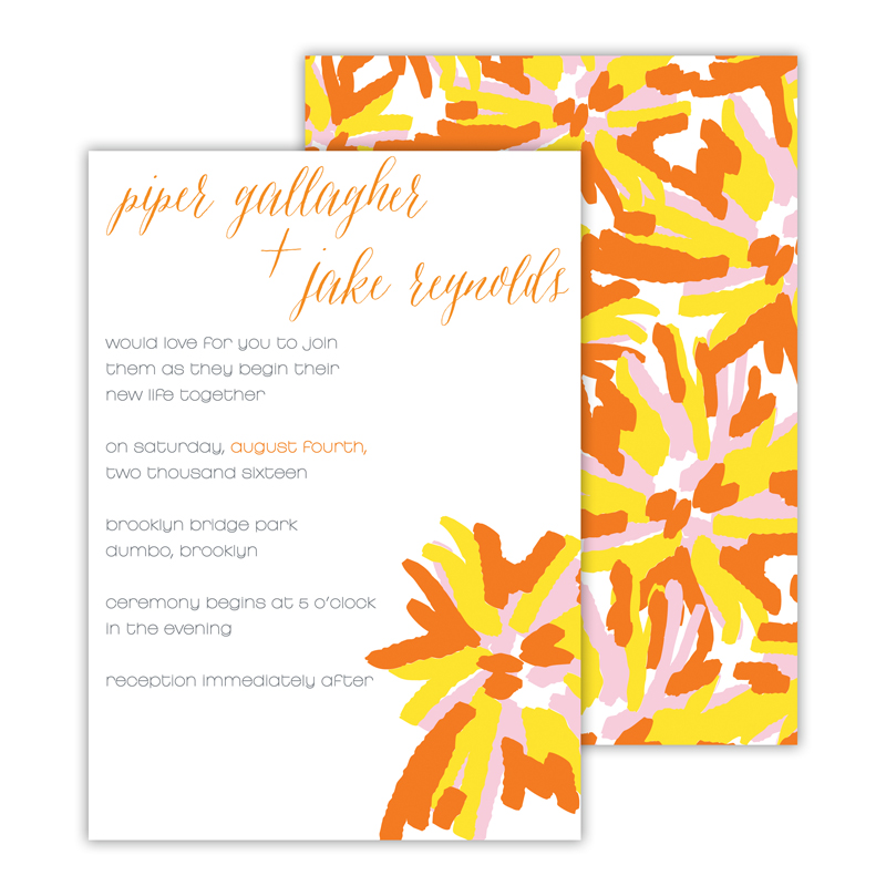 Brooklyn Flowers Personalized Deluxe Flat Invitation or Save the Date Card (25 cards)