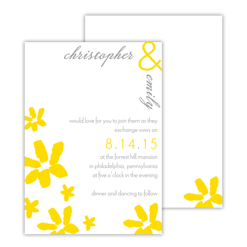 Daisy Personalized Deluxe Flat Invitation or Save the Date Card (25 cards)