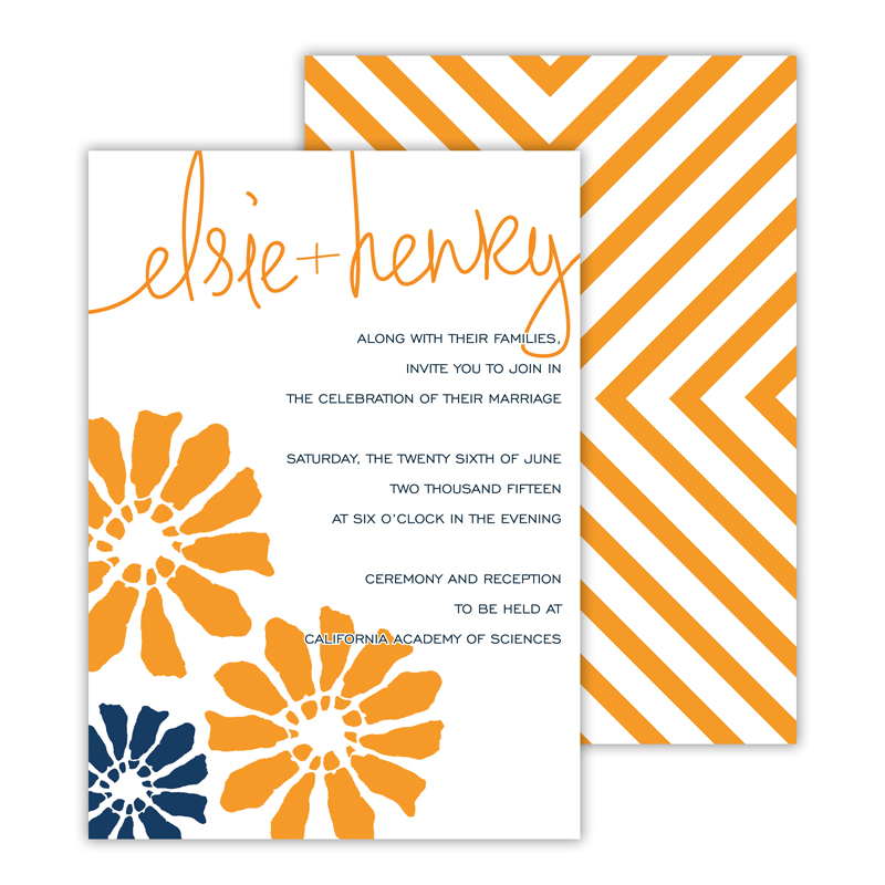 Poppies Personalized Deluxe Flat Invitation or Save the Date Card (25 cards)