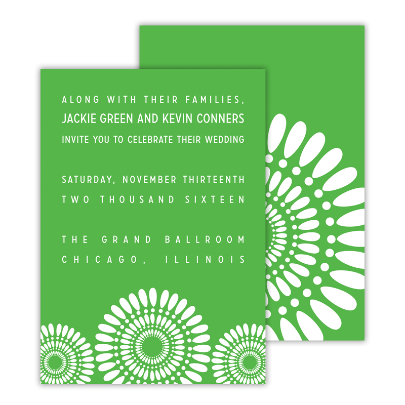 Medallion 2 Personalized Deluxe Flat Invitation or Save the Date Card (25 cards)