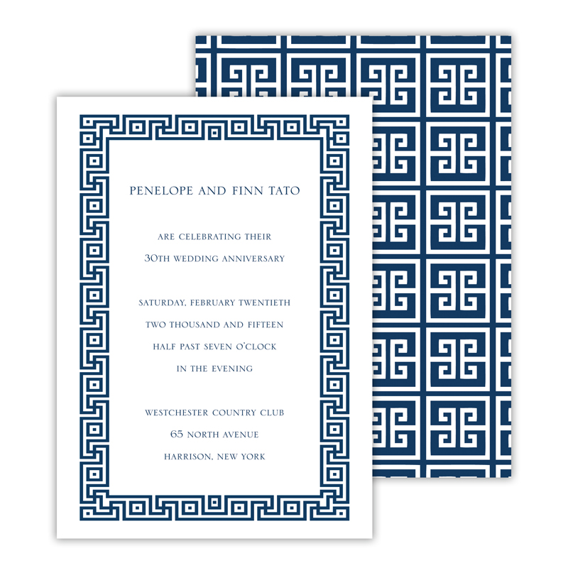 Greek Key 2 Personalized Deluxe Flat Invitation or Save the Date Card (25 cards)