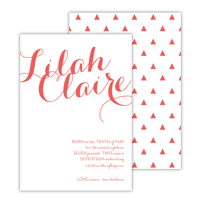 Blythe Personalized Deluxe Flat Invitation, Birth Announcement or Card (25)