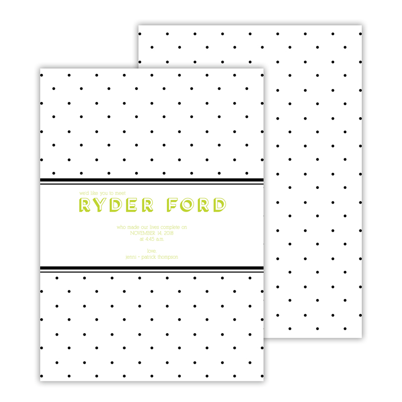 Swiss Dot Personalized Deluxe Flat Invitation, Birth Announcement or Card (25)