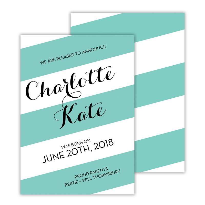 Beatrice Personalized Deluxe Flat Invitation, Birth Announcement or Card (25)