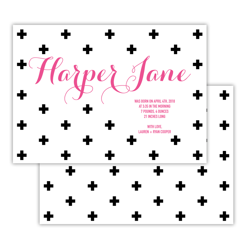 Harper Deluxe Flat Invitation, Birth Announcement or Card (25)