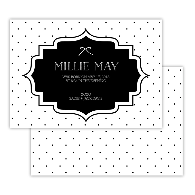 Swiss Dot 2 Personalized Deluxe Flat Invitation, Birth Announcement or Card (25)