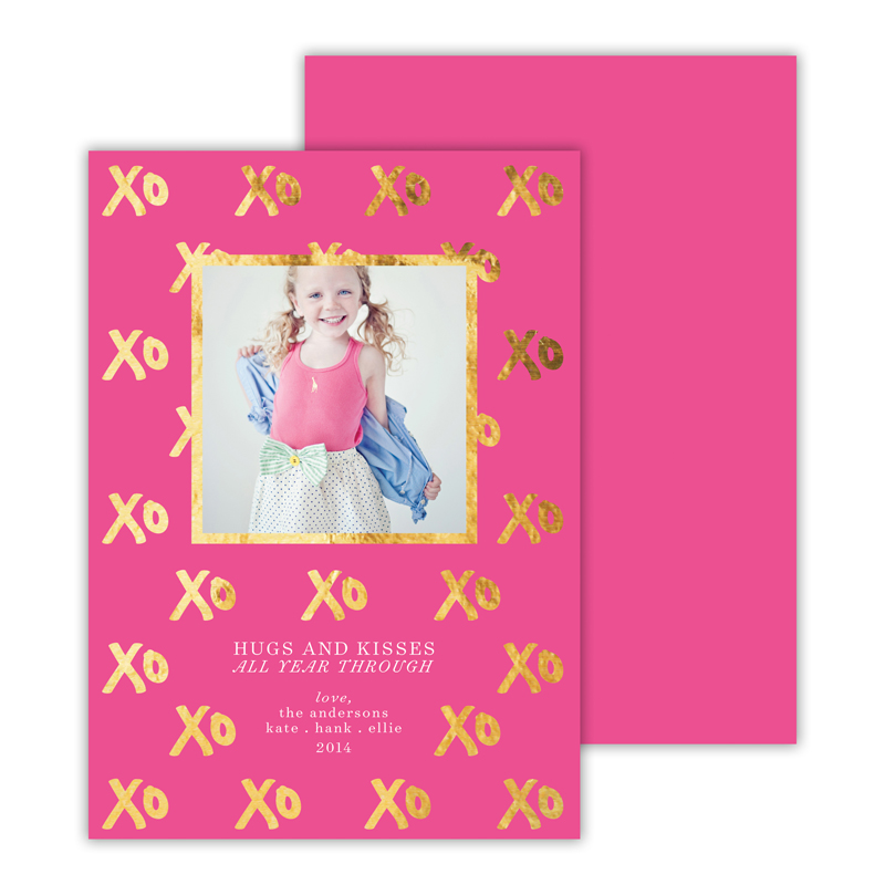 Hugs + Kisses Foil Photocard - available in 5 colors