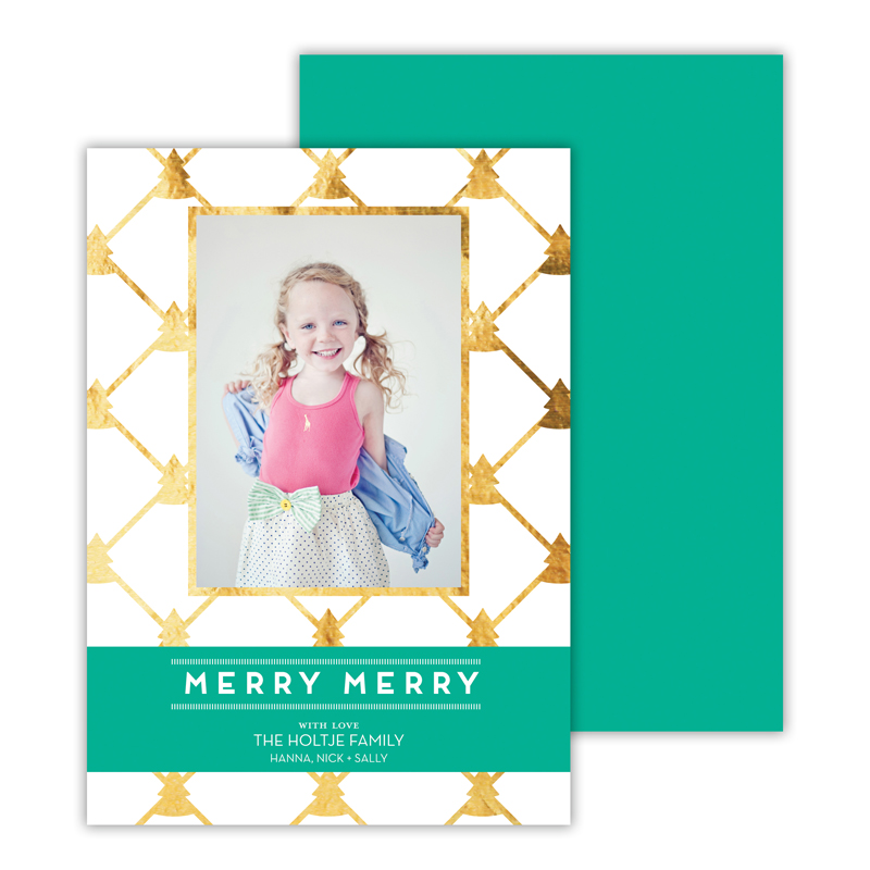 Little Trees with Foil Holiday Photocard - available in 6 colors