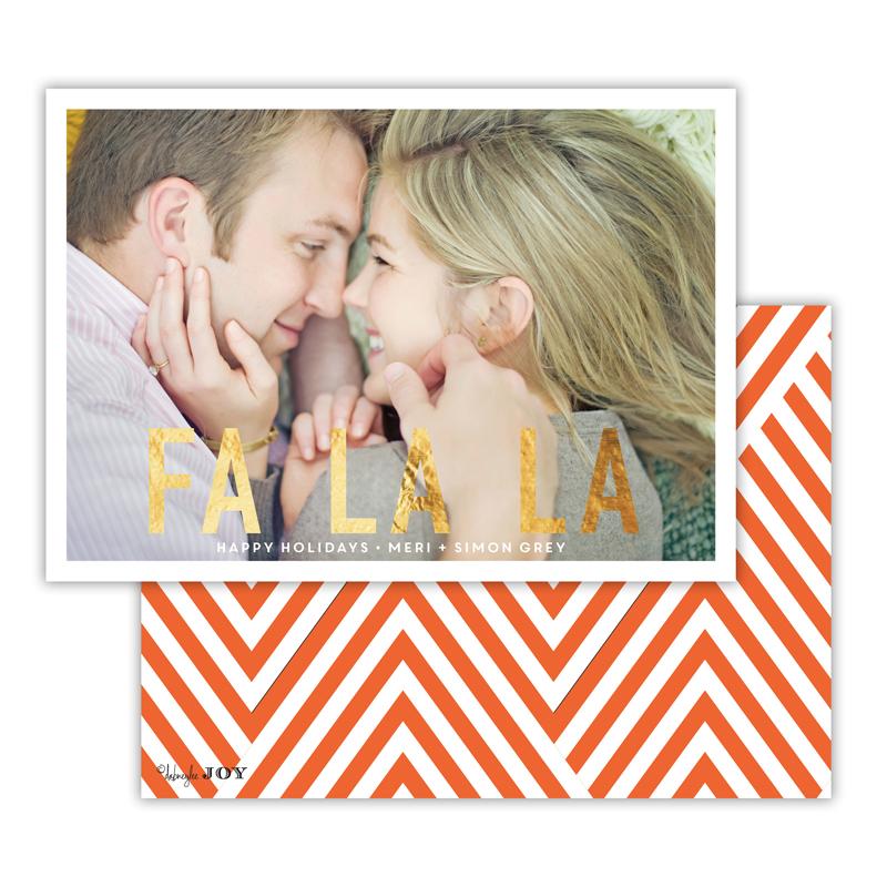 Fa La La with Foil Christmas Photocard - available in 4 colors