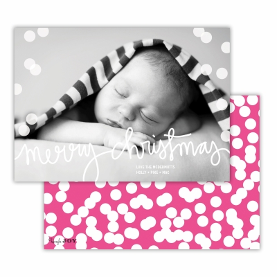 Merry Christmas with Holepunch Hot Pink Back Flat Photocard