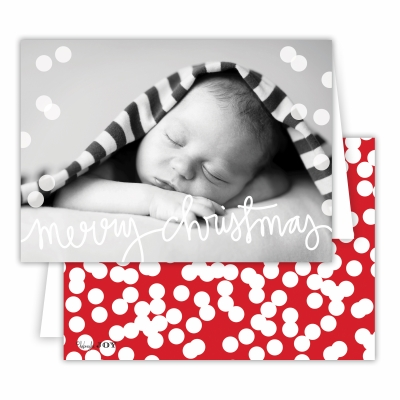 Merry Christmas Folded Photocard with Holepunch Red Back