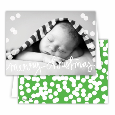 Merry ChristmasFolded Photocard with Holepunch Grass Back