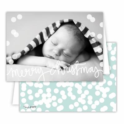 Merry Christmas Folded Photocardwith Holepunch Sea Back