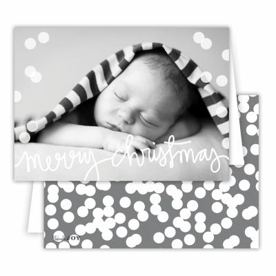 Merry Christmas Holepunch Folded Photocard with Dark Grey Back