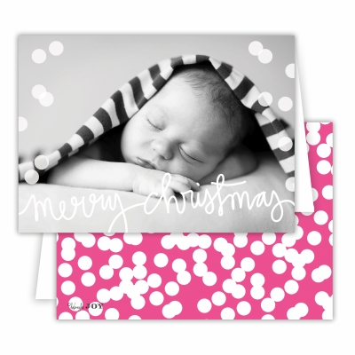 Merry Christmas Folded Photocard with Holepunch Hot Pink Back