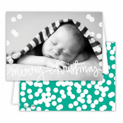 Merry Christmas Folded Photocard with Holepunch Jewel Back