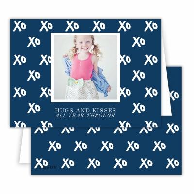 Hugs + Kisses Navy Folded Photocard