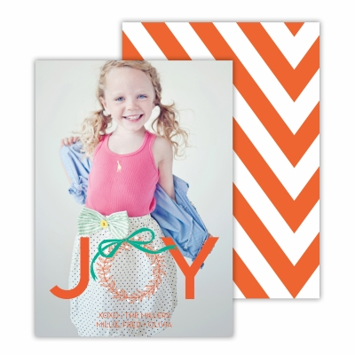 Christmas Wreath with  Warm Red Back Flat Photocard