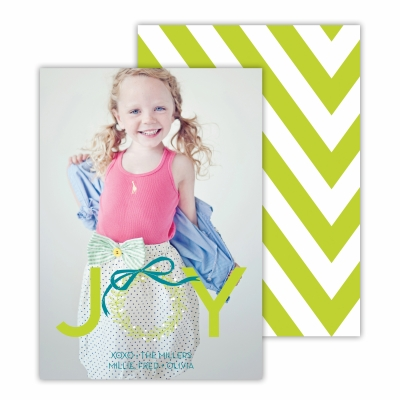 Christmas Wreath with  Chartreuse Back Flat Photocard
