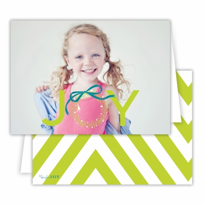 Christmas Wreath with Chartreuse Back Folded Photocard