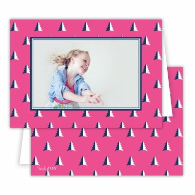 Christmas Evergreen Hot Pink Folded Photocard