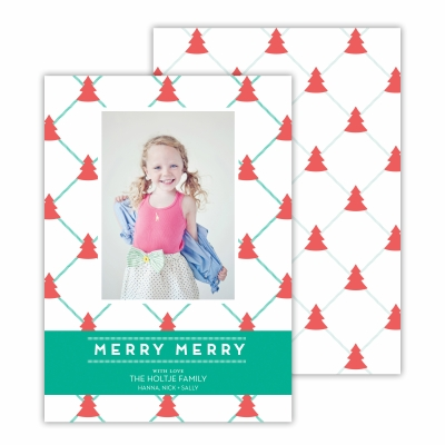 Little Christmas Trees Coral &Jewel Photocard