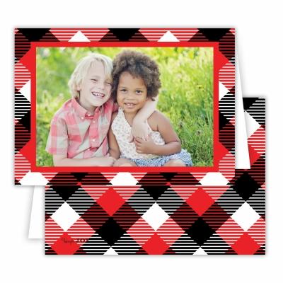 Tartan Red Folded Photocard
