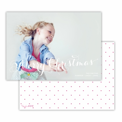 Merry Christmas with Swiss Dot Hot Pink Back Flat Photocard
