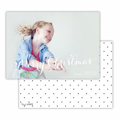Merry Christmas with Swiss Dot Black Back Flat Photocard
